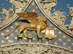 The winged lion symbol of patron saint of Venice St. Mark