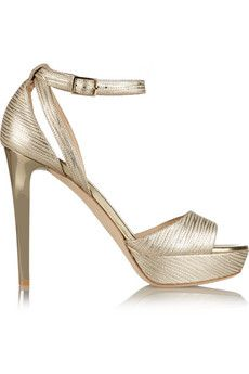 Jimmy Choo Kayden metallic textured-leather platform sandals   NET-A-PORTER