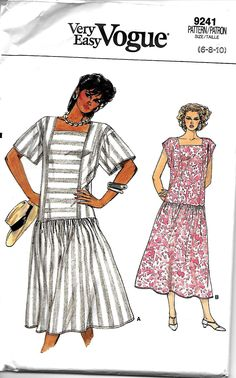 Vogue 9241 Very Easy Misses Dropped Waist, Square Neck Dress Pattern, 6-8-10, UNCUT by DawnsDesignBoutique on Etsy
