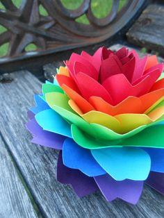 Single Rainbow Dahlia. ROYGBIV. Cake Topper, Wedding, Gift, Decoration, Anniversary, Birthday, Gay Pride. by TreeTownPaper on Etsy