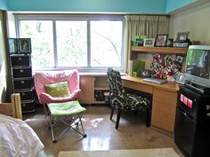 Got clunky dorm furniture? Add touches of colorful prints to give your dorm a personal touch.    #dorms #collegedorms