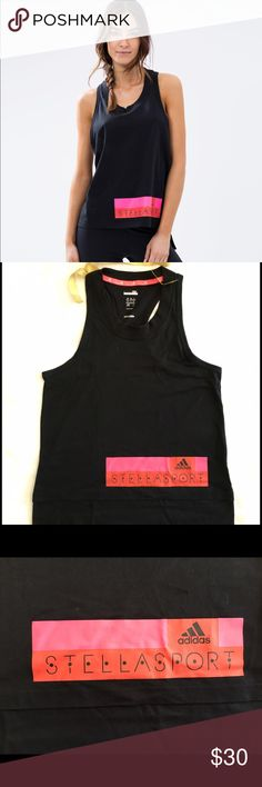 Adidas by Stella MCcartney Stella Sport Logo Tank Adidas by Stella MCcartney Stella Sport Logo Tank racerback size XS  Preowned.                  Freshen-up your workout wardrobe with the Stella Sport Logo Tank by adidas StellaSport. Designed in collaboration with Stella McCartney, this comfortable tank is infused with climalite moisture-wicking technology.          - Regular fit - Cotton-blend jersey  - Ribbed, scoop neckline  - Cutaway, sleeveless design  - Logo screen print on the front…