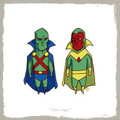 Martian Manhunter and Vision Marvel vs. DC: Little Friends by Darren Rawlings Marvel Vs Dc Comics, Marvel And Dc Characters, Marvel Heroes, Graffiti Characters, Marvel Avengers, Martian Manhunter, Comic Books Art, Comic Art, Crossover