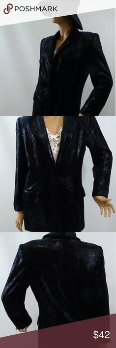 "Cache Classic Black Snake Print Blazer Cache Black Classic Soft Snake Print  Blazer . Beautiful Cache Blazer Jacket. Classic Black. Versatile - Carrier , Business or Night Out.   Soft Textured Fabric. 1 Button Closure, 2 Pockets . Made here in USA . Chest 20"", Waist 18"", Hips 19"" Sleeve  24"", Shoulders 16"", Length 30"" Cache Jackets & Coats Blazers"