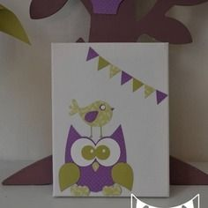 Super promo ! tableau illustration enfant cadre hibou oiseau vert anis
