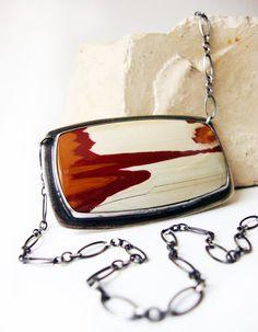 Jasper Necklace, Sterling Silver Picture Jasper pendant, red orange jasper - Desert Mirage Cameo. $99.00, via Etsy.