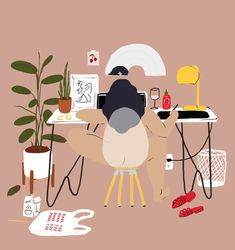 """I'm obsessed with these illustrations by artist Stephanie Deangelis. Honestly, any of these could be potentially be the album cover to this period of my life (see very last illustration """"Sunday Scaries""""). Illustration Design Graphique, Art Et Illustration, People Illustration, Design Poster, Art Design, Poster Designs, Graphic Design, Pop Art Wallpaper, Aztec Wallpaper"""