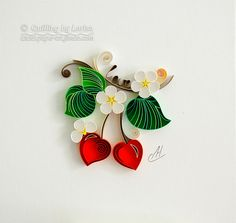 Quilling wall art Paper quilling art Love Heart Quilling paper Wedding Anniversary Love cherries Handmade Decor Design Gift