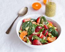 Strawberry, Spinach and Avocado Fruit Salad with Orange Ginger Vinaigrette