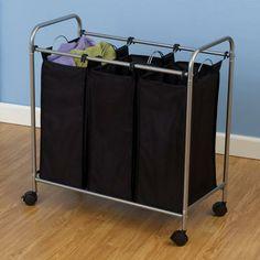 Tvättkorg, 3-delad tvättkorg, Tvättkorg på hjul, sortera tvätt i 3-delad korg, förvara.se