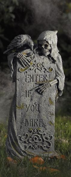 enter if you dare tombstone modern halloweenhappy halloween markerparanormalgothhappinessgraveyardshalloween decorationshalloween ideas