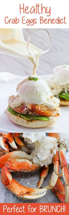 This Healthy Crab Eggs Benedict is made with Dungeness crab legs, poached eggs, and a creamy yogurt sauce, and is a lighter take on the breakfast classic!