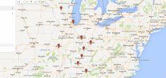 map of Driveable midwestspring break destinations