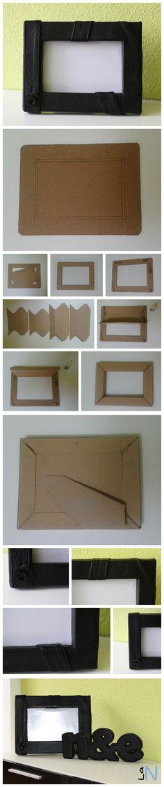 Porta fotos hecho con cartón y forrado con retales de cuero. 100% materiales reciclados. Si quieres ver la explicación del paso a paso, visita:  http://laneuronadelmanitas.blogspot.com.es/2013/09/porta-retratos-de-carton-y-cuero.html