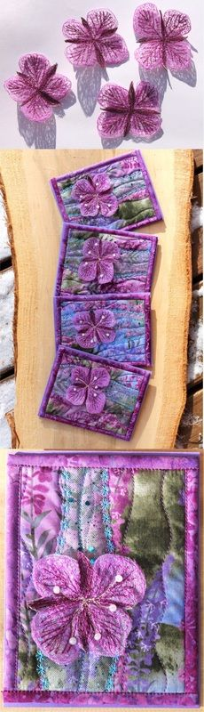 In an effort to get more people to make quilted greeting cards, I am giving away a free pattern! Fabric Cards, Fabric Postcards, Batik Quilts, Applique Quilts, Thread Painting, Fabric Painting, Flower Quilts, Fabric Flowers, Small Quilts
