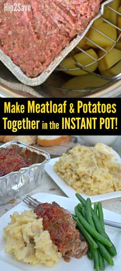 Here's how to make Instant Pot Meatloaf and Mashed Potatoes together as a comforting and convenient one pot meal the entire family will love! # instant pot recipe # meatloaf # potatoes and meatloaf Instant Recipes, Instant Pot Dinner Recipes, Easy Dinner Recipes, Paleo Dinner, Easy Recipes, Cheap Recipes, Instant Pot Meals, Ninja Recipes, Easy Dinners