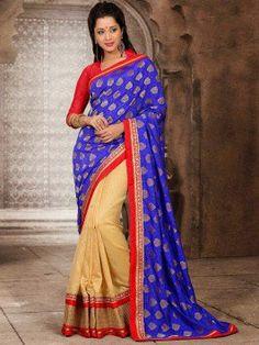 Blue Cotton Jacquard Saree With Zari Work