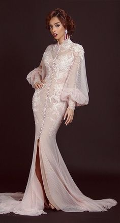 Long Sleeves Muslim Evening Dresses 2017 Appliques Tulle Dubai Arabic Arabian High Neck Mermaid Zipper Back Party Gowns(China (Mainland)) Ivory Prom Dresses, Prom Dresses 2016, Long Sleeve Evening Dresses, Formal Dresses For Women, Evening Gowns, Wedding Dresses, Style Fête, Couture Dresses, Fashion Dresses