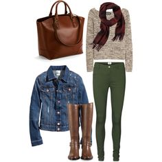 Fall outfit, Jean shirt, green jeans and riding boots