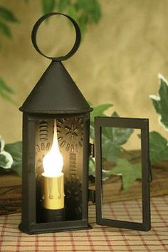 primitive country colonial revere punched tin electric lamp night