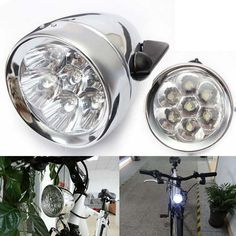 Retro Bike Front Light Vintage bicycle Headlight Led Lights with bracket Silver #Unbranded