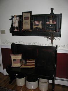 americana decor -love the bench and pillows