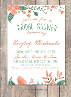 Pin and save: Pin this link and use code THANKS4PINNING to save 10% on your purchase!  https://www.etsy.com/listing/230948069/bridal-shower-invitation-floral-bridal?ref=shop_home_active_5