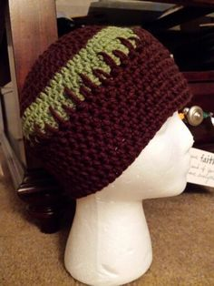 Brown and green chemo beanie for a man