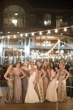 long metallic sequin bridesmaid gowns