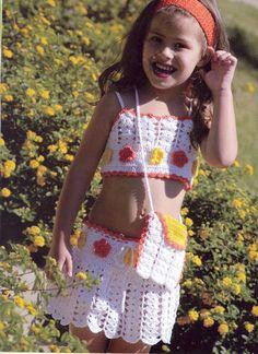 Receita de Crochê Infantil: Top, saia e bolsinha em crochê