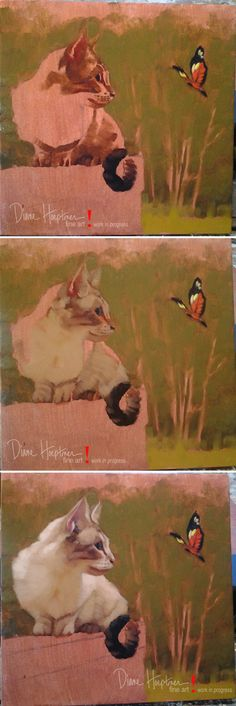 """Cat & Butterfly IV"" by Diane Hoeptner. See the finished painting on my blog:  http://dianehoeptner.blogspot.com/2014/09/cat-butterfly-iv.html"