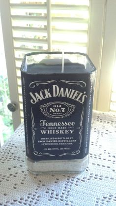 Jack Daniels Candle Glass Liquor bottle recycled upcycled Man cave bar decor