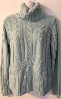 Apt. 9 Cable Knit Turtleneck Sweater size M Blue Angora Blend Soft Cowl Neck #Apt9 #CowlNeck