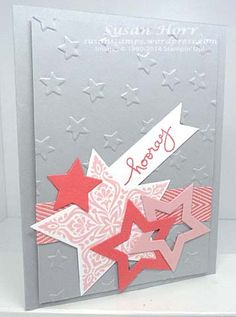 Here is yet another star card.  I can't help myself.  I just love stars.  This card reminds me of a magician's trick.  Can you see how the two stars are attached to each other?  It is magical (alth...