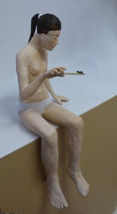 """Contemplation"" Paper Mache figure by Phil Lockwood"