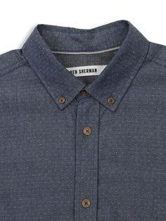 INDIGO LAUNDERED DOBBY SPOT | Small Point Collar Shirt | Blue Depths | Ben Sherman