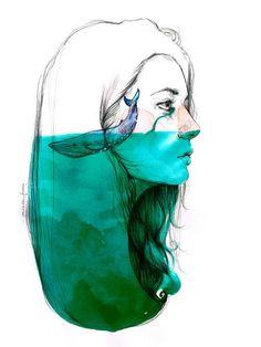 Watercolor | negative space | lines |