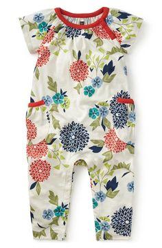 Tea Collection 'Hina' Pocket Romper (Baby Girls)