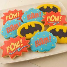 Super Hero Cookies, Pow, Bam, Batman  -  24 Decorated Sugar Cookies on Etsy, $36.00
