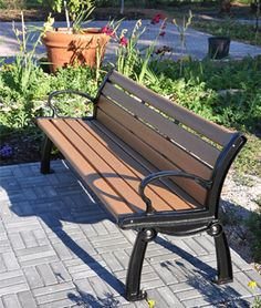 Recycled Plastic Park Bench at Frog Alley Community Garden.