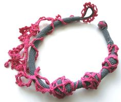 Freeform crocheted necklace Pink and grey