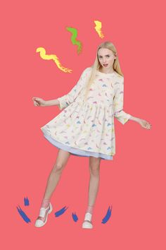 Dinosaur Smock Dress Multicolour http://www.thewhitepepper.com/collections/dresses/products/dinosaur-smock-dress-multicolour