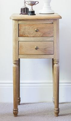 Crafted from solid oak, our small bedside table features fluted legs and 2 drawers. French Bedside Tables, Bedside Table Design, Hamptons Style Bedrooms, French Provincial Bedroom, Small Nightstand, Bedroom Dimensions, Small Room Bedroom, Master Bedroom, Bedroom Ideas