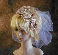 Bridal Headband Champagne Satin Vintage by IrmasElegantBoutique Bridal Fascinator, Bridal Headpieces, Fascinators, Diy Headband, Bridal Headbands, Satin Flowers, Wedding Veils, Bridal Lace, Champagne