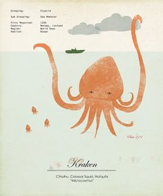 Limited Edition Kraken Giant Squid Species by ShopAmySullivan, $45.00