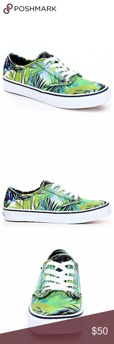 NEW Vans Camden Palms Sneakers Vans Camden Women's Shoe  A low-cut cutie, the Camden women's shoe from Vans rocks beneath skinny jeans and skater skirts!  It features a lightweight canvas construction and a slim, feminine silhouette.  Canvas upper Lace-up front Rubber outsole Vans Shoes Sneakers