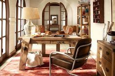the collector's home office.  leather chairs.  rustic.  wood desk.  light and bright.  #inspiration
