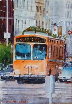 "San Francisco Culture Bus  Original Painting in Watercolor 14"" x 10"" #Realism"