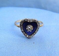 Enamel Heart Ring, Rose cut diamonds, Poison or Locket Ring
