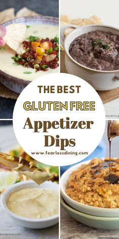These delicious savory homemade gluten free appetizers aka party dips are perfect for game day, a birthday, picnic, or any day! These are all quick and easy to make, and they are a big hit with sports fans! www.fearlessdining.com Gluten Free Party Food, Gluten Free Appetizers, Easy Appetizer Recipes, Yummy Appetizers, Gluten Free Meatballs, Sweet Potato Nachos, Chorizo Recipes, Grilled Fruit, Party Dips